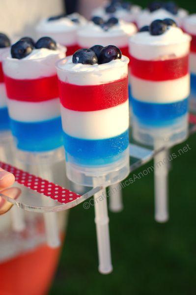 Patriotic push-up pops recipe #food: Push Up Pops, July Dessert, Patriotic Food, 4Th Of July, Party Idea, July Ideas, Holiday Idea, Push Pops, July Treat