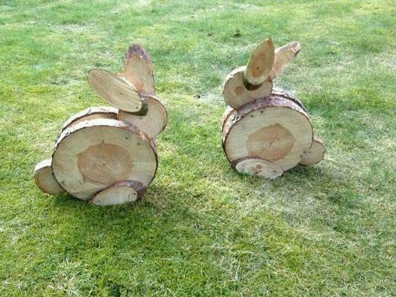 Wood slice bunnies:
