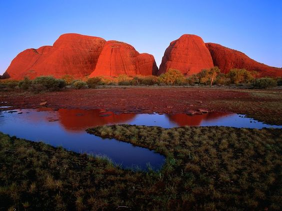 The Olgas at sunset. At 550m tall, these 36 domes cluster together to make an imposing 'mountain'. Sacred Aboriginal land in The Outback, Northern Territory.