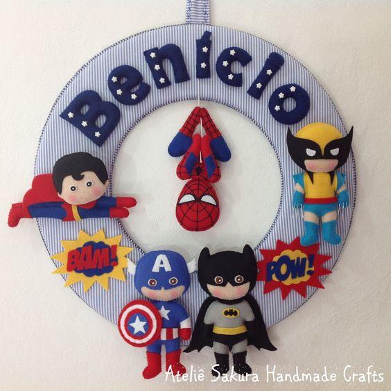 Guirlanda tema Super Heróis para o Benício #SuperHeroes #Felt #Heroes