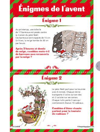 Enigmes Mathematiques Cm Fichespedagogiques Com En 2020 Enigmes De Noel Calendrier De L Avent Devinette De Noel