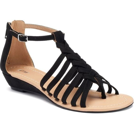 Apt. 9® Women's Braided Demi Wedge Sandals ($40) ❤ liked on Polyvore featuring shoes, sandals, black, medium wedge sandals, mid heel wedge sandals, black braided sandals, braided sandals and open toe wedge sandals
