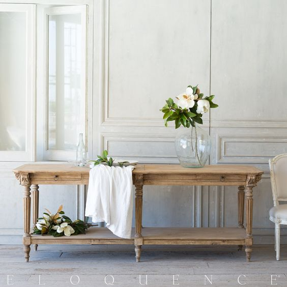 French Country dining room sideboard and paneled walls by Eloquence #FrenchFarmhouse #FrenchNordic