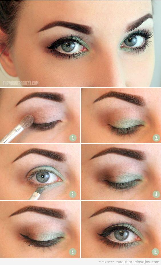 Tutorial para maquillar ojos con tonos verdes paso a paso, verano 2013