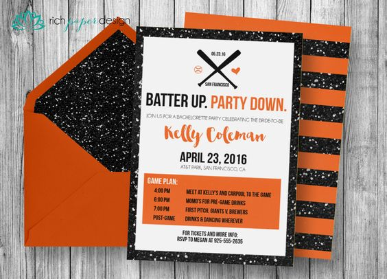 Baseball Bachelorette Party, Last Swing Bachelorette Party Invitation - Digital File or Printed Invitations by RichPaperDesigns on Etsy https://www.etsy.com/listing/286087371/baseball-bachelorette-party-last-swing