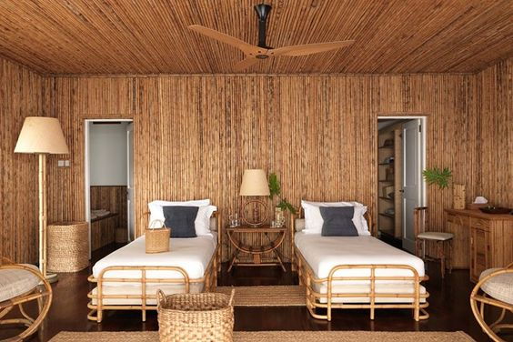 Twin Bedroom. Discover a redesigned bamboo house on the Caribbean island of Mustique on HOUSE - design, food and travel by House & Garden.