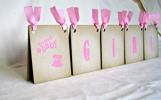 Baby shower decor,  girl centerpiece, vintage inspired table tent in pink and white, dual sided. $21.00, via Etsy.
