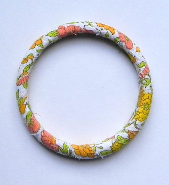 Yellow and Orange Floral Vintage Fabric by MountainLightJewelry, $18.00
