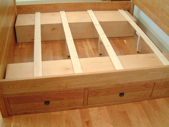 Space under the bed low priced plan for building a diy platform bed with lots of storage space - Drawer bed frame plans ...