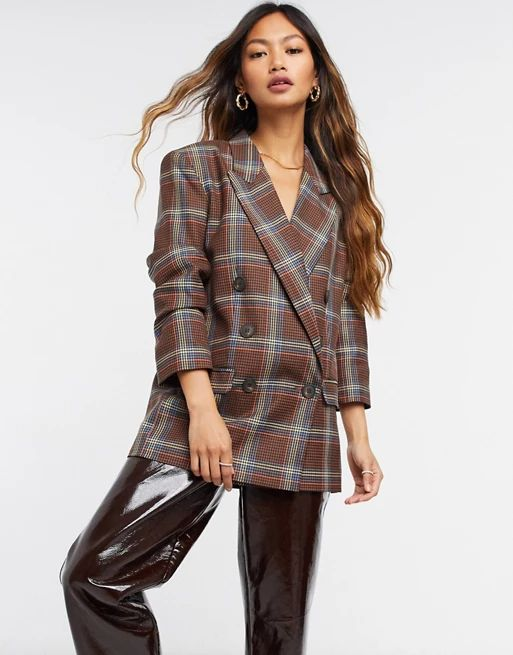 ASOS DESIGN double breasted suit blazer in bold check | ASOS