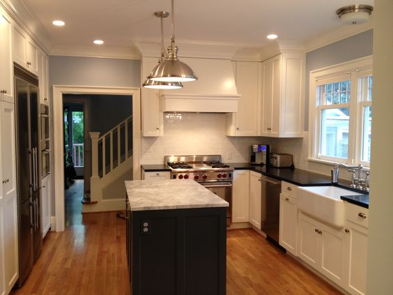 Kitchen Cabinets Ideas kitchen view custom cabinets : Full kitchen view in 1920's home; white custom cabinets; moonlight ...