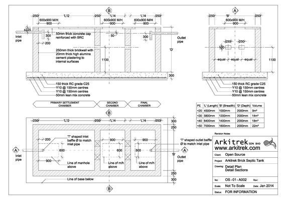 Brick Septic Tank Arkitrek Open Source Design Drawings Septic Tank Design Septic Tank Septic Tank Size