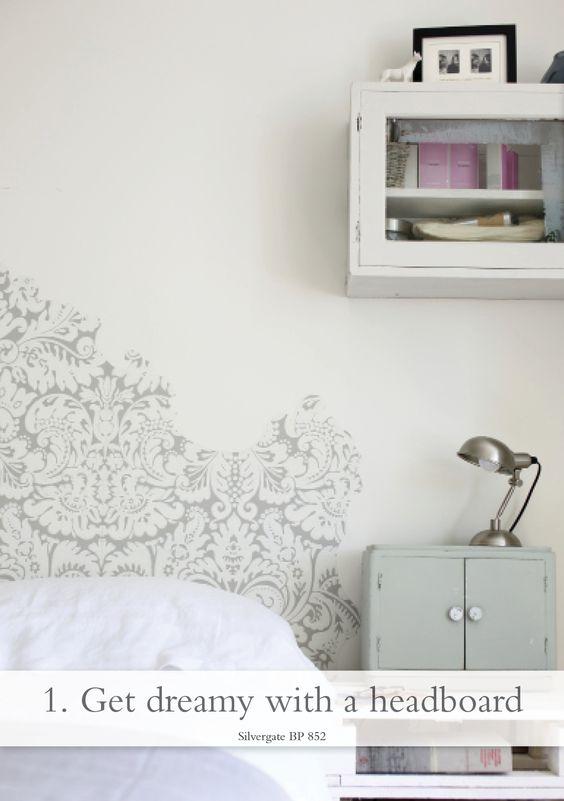 """A """"headboard"""" made from Farrow & Ball wallpaper"""