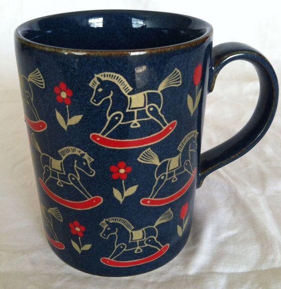 Otagiri Mug Stoneware Cobalt Blue Red Gold Rocking Horse Coffee Cup Tea Vtg