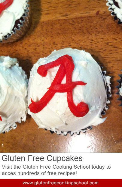 Getting Ready for Foodball: Georgia and Alabama Gluten Free Cupcakes - While this recipe uses a box mix, you'll be altering it a little to make sure your cupcakes come out perfectly. You can make any color combination you want, to support your chosen teams.