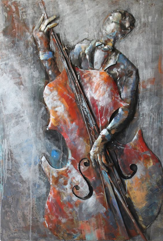 The Bassist Mixed Media Iron Hand Painted Dimensional Wall Décor: