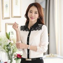 Black Lace costura Chiffon Casual camisa lapela Single Breasted moda feminina primavera e no outono nova S2117(China (Mainland))