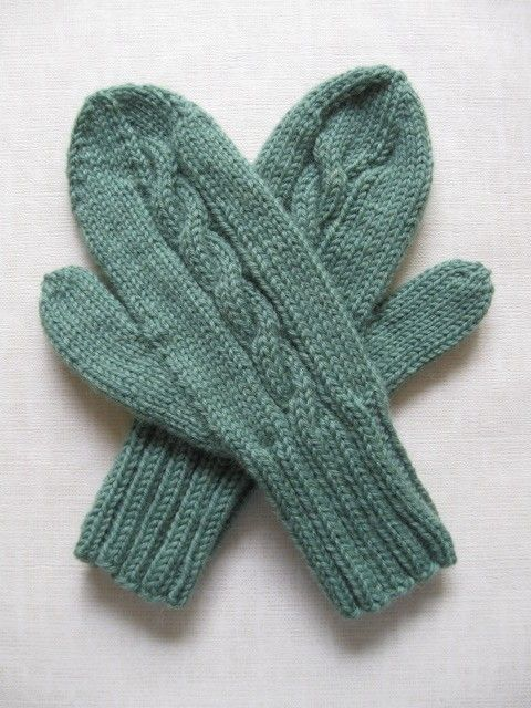 Awww...these cable mittens look like the ones my grandma used to make.