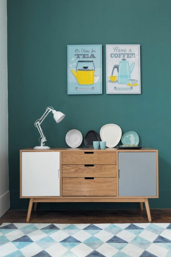 Scandinavian furniture In the living room wooden chest of drawers: