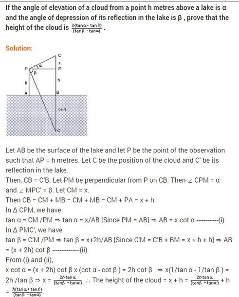 Some Applications Of Trigonometry Class 10 Extra Questions Maths