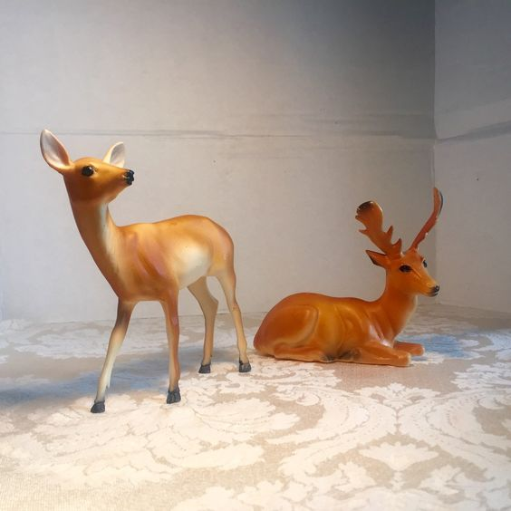 Vintage Deer Figurines by vintagepoetic on Etsy