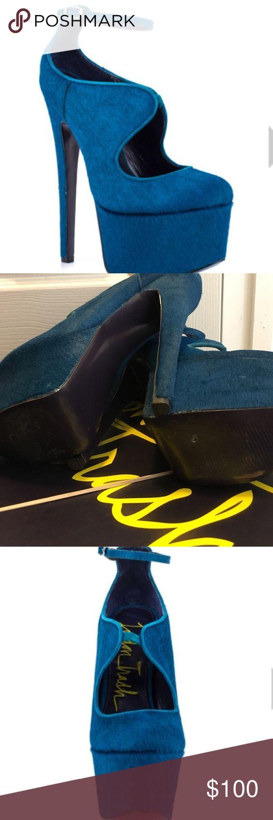London Trash LT-Candy Teal Teal pony hair monster heels by London Trash! WORN ONCE! London Trash Shoes Platforms