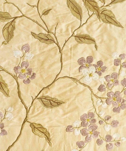 Apple Blossom Silk Curtain Fabric Pale cream silk fabric with ...