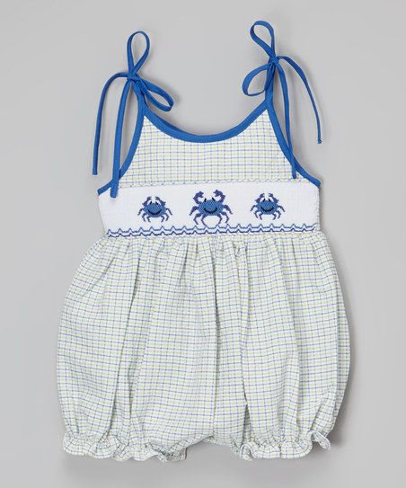 BeMine Blue & Yellow Gingham Crab Smocked Bubble Romper - Infant | zulily