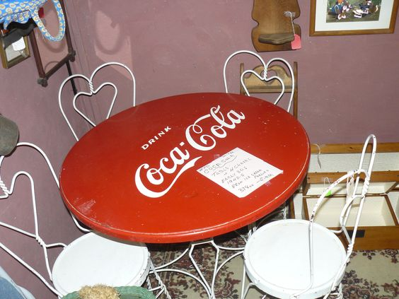 Ice cream parlor wood chairs and wrought iron on pinterest - Coca cola table and chairs set ...