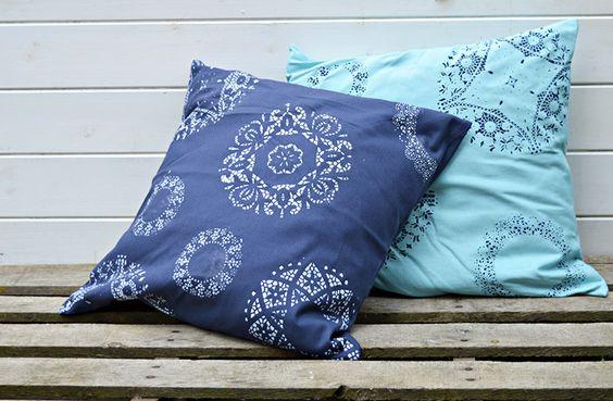 Como DOILY Stencil uma almofada / travesseiro