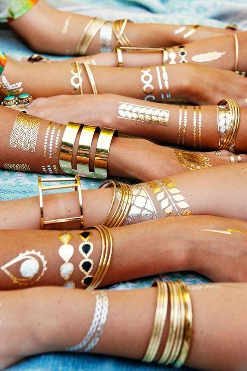 the new trend! metallic temporary tattoos #bijoux #summer #summer2015 #tendance2015