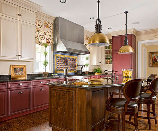 Red Kitchen Design Ideas | Traditional, Copper and Hardware