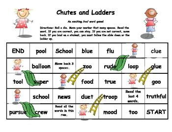 Printables Words With Long Oo Sound oo word chutes and ladders words student the ojays this game is to help students read with sound spelled oo
