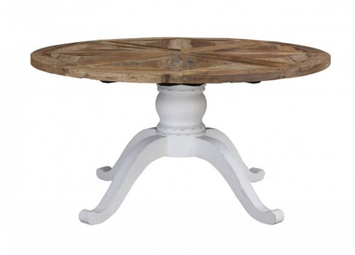 Tøft og rustikt rundt avignon spisebord i en stilig ...