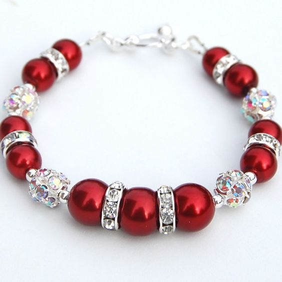 Bright Red Pearls And Sparkling Rhinestone Bracelet.  This Would Be Pretty With Grey Pearls: