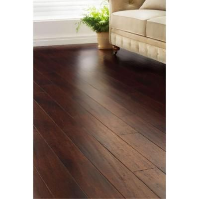 Home Decorators Collection Handscraped Strand Woven Dark Mahogany 3/8 in. x 5-1/8 in. x 36 in. Click Engineered Bamboo Flooring (25.625 sq.ft/case)-AM1319E - The Home Depot