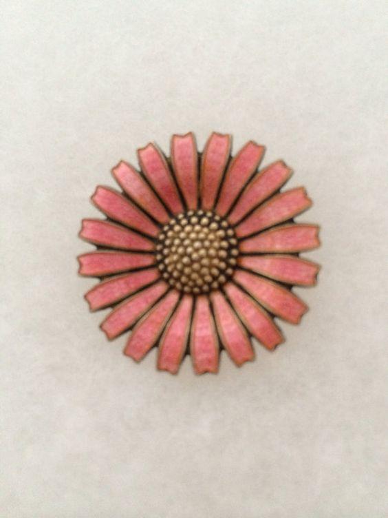 Anton Michelson Copenhagen Gold Wash Sterling Silver Enamel Daisy Flower Pin Brooch 1940s Era