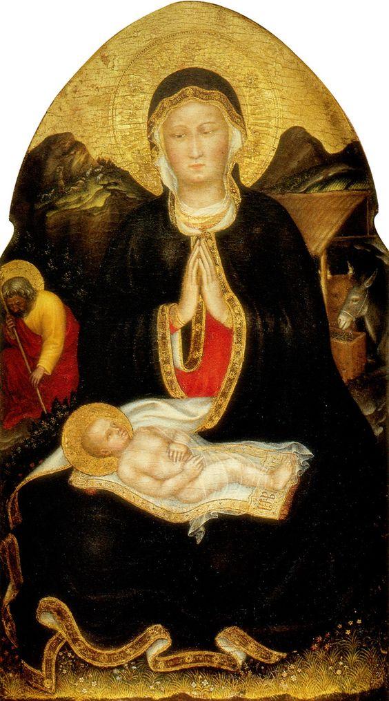 Gentile da Fabriano, or Gentile di Niccolò di Giovanni di Massio (c.1370-1427) — The Nativity, 1420-1422 :  The Getty Center,  Los Angeles, California.  USA   (931×1675):
