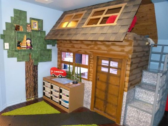 Minecraft bedroom for boys bedroom created for a for Chambre minecraft