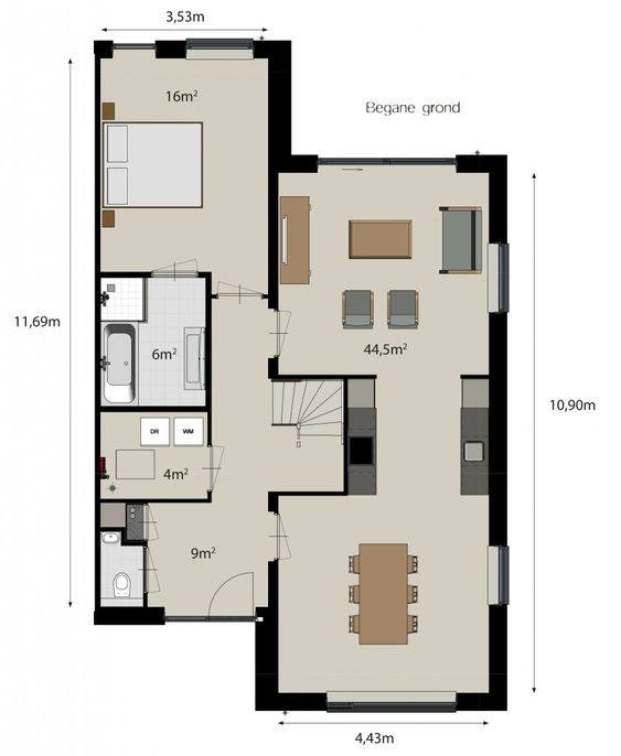 plattegrond woning keuken in het midden - Google zoeken ...
