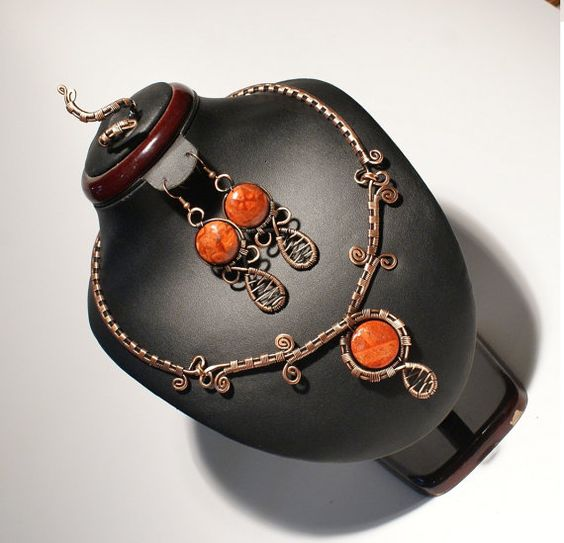 Copper jewelry set-coral jewelry set by BeyhanAkman on Etsy