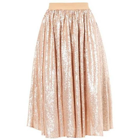 mint&berry A-line skirt rose gold ❤ liked on Polyvore featuring ...