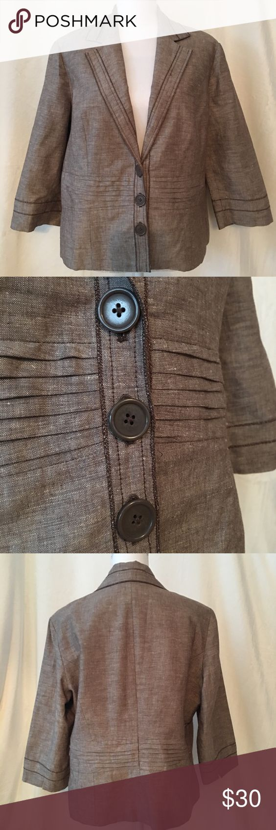 Coldwater Creek Linen Blazer Brown 3/4 sleeve linen and cotton short blazer. Has 3 buttons and great detail. Can be dressed up or worn with jeans. In great condition. Coldwater Creek Jackets & Coats Blazers