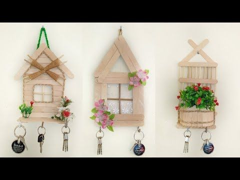 3 Beautiful Key Stand Ideas With Popsicle Sticks Wall Decor Craft Youtube Key Holder Diy Craft Stick Crafts Wall Decor Crafts