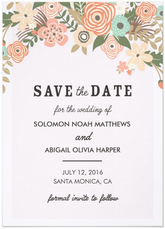 Classic Casual Floral Save the Date Card