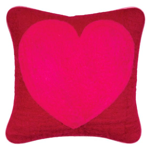 Pink & Red Felt Heart Pillow