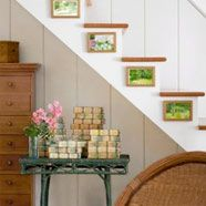 love the picture frames hung on the stairs!  Adorable!