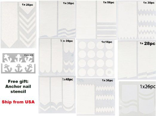 HipGirl Nail Art Supplies--Ship From USA, 30 Sheets French Tip Nail Guides Sticker (3 sheets per style) With Free Anchor Nail Guides