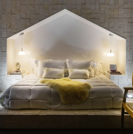 Bedroom Design Idea - This bed has a surround shaped like a house - schlafzimmer design ideen roche bobois