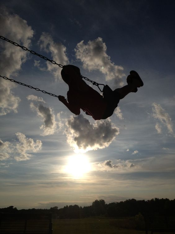 Swinging at sunset.
